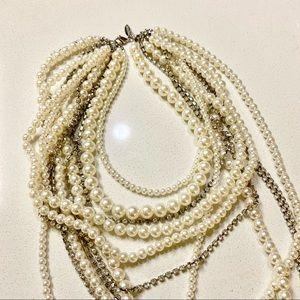 Pearl Rhinestone Layered Multi-Strand Statement Necklace